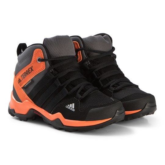 adidas Performance Black and Orange Terrex AX2R Mid Hiking Boots CORE BLACK/CORE BLACK/HI-RES ORANGE S18