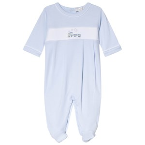 Image of Kissy Kissy Blue Premier Train Embroidered Footed Baby Body 0-3 months (3056092219)