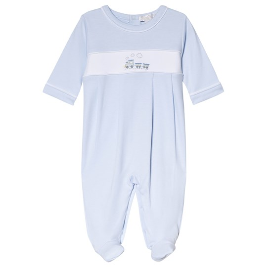 Kissy Kissy Blue Premier Train Embroidered Footed Baby Body PREMIER TRAIN