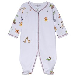 Kissy Kissy White Jolly Jungle Print and Embroidery Footed Baby Body