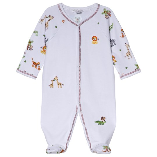Kissy Kissy White Jolly Jungle Print and Embroidery Footed Baby Body JOLLY JUNGLE