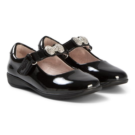 Lelli Kelly Black Patent Mandy Diamante Bow Shoes with Removable Strap BLACK PATENT