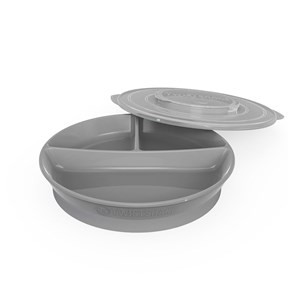 Image of Twistshake Divided Plate + Cover (6+ m) Pastel Grey (3057459747)