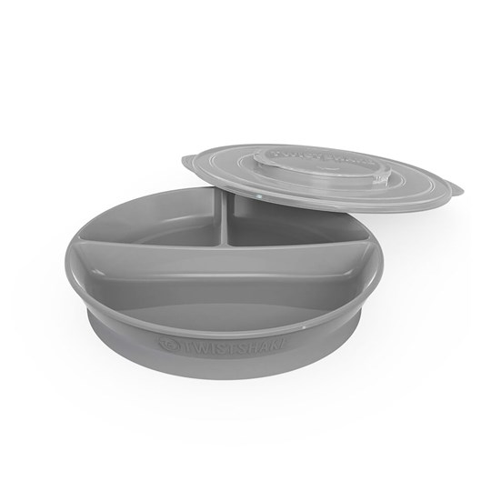 Twistshake Divided Plate + Cover (6+ m) Pastel Grey Musta