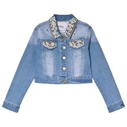 Relish Pearl Embellished Collar and Pocket Denim Jacket