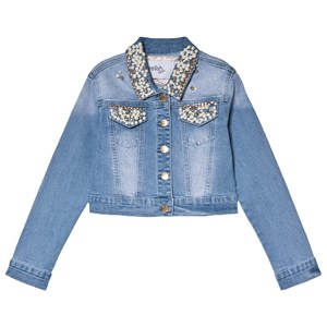 Image of Relish Pearl Embellished Collar and Pocket Denim Jacket 10 years (3056059253)