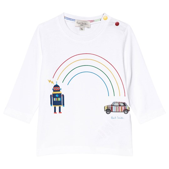 Paul Smith Junior White Mini and Robot Rainbow Print Long Sleeve Tee White