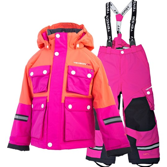 Tenson Breezy Skiing Snow Pants and Winter Jacket Set Orange Orange