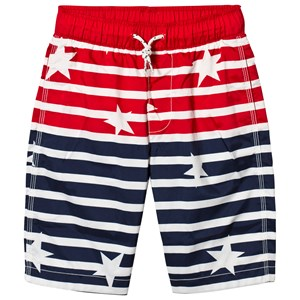 Image of GAP Elysian Blue Stars and Stripes Swim Trunks L (9-10 år) (3056063353)