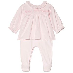 Image of Absorba Pale Pink Frill Embroidered Blouse and Velour Footed Baby Body 6 months (3056070925)