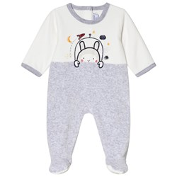 Absorba White and Grey Space Bunny Footed Baby Body