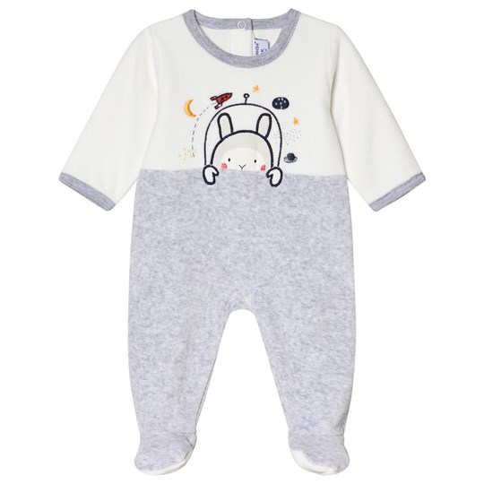 Absorba White and Grey Space Bunny Footed Baby Body 24
