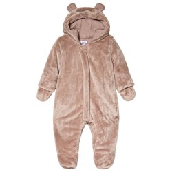 Absorba Taupe Faux Fur Hooded Coverall with Ears