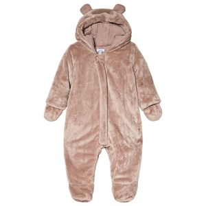 Image of Absorba Taupe Faux Fur Hooded Coverall with Ears 1 month (3056071337)
