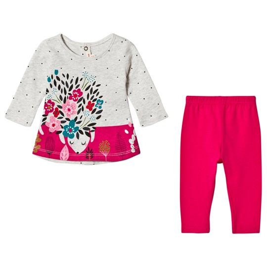 Catimini Head in the Clouds T-Shirt and Leggings in Grey and Pink 35