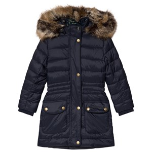 Image of Barbour Navy Redpole Padded Faux Fur Hooded Coat L (10-11 years) (3056071595)