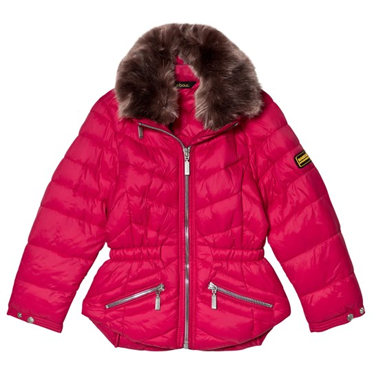 Barbour Pink Valencia Padded Faux Fur Collared Coat PI71