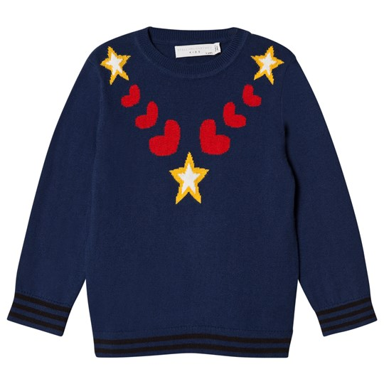 Stella McCartney Kids Blue Sweater with Hearts and Stars 4261 - Boat Blue
