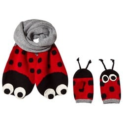 Stella McCartney Kids Grey and Red Elvira an Snappy Scarf and Gloves Set