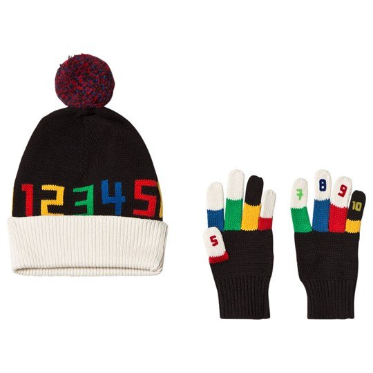 Stella McCartney Kids Black Ace and Twiddle Hat and Gloves Set 1073 - Black