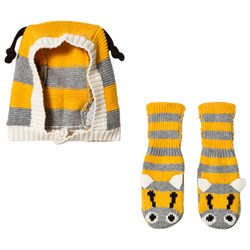 Stella McCartney Kids Yellow and Grey Flopsy and Chips Booties and Hat Set