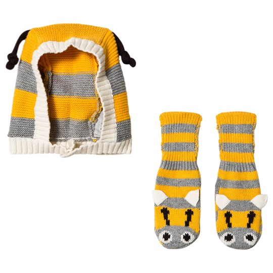Stella McCartney Kids Yellow and Grey Flopsy and Chips Booties and Hat Set 1461 - Thunder