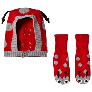 Stella McCartney Kids Red and Grey Flopsy and Chips Booties and Hat Set 3-6 months
