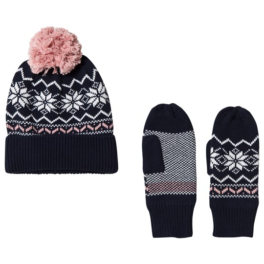 Kuling Navy and Pink Holmenkollen Beanie and Mittens Set Pink