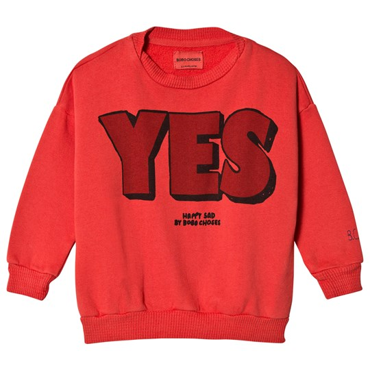 Bobo Choses Yes No Round Neck Sweatshirt Red Clay Red Clay