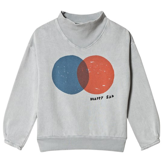 Bobo Choses Red and Blue Rib Collar Sweatshirt High-Rise HIGH-RISE