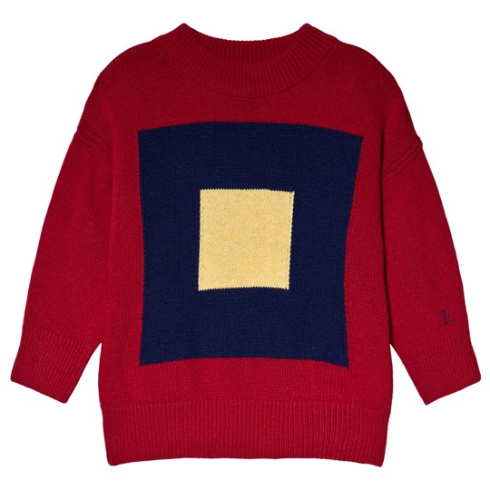 Bobo Choses Merino Squares Sweater Red Clay Red Clay