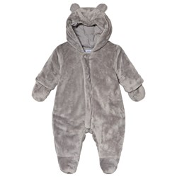 Absorba Grey Faux Fur Hooded Coverall with Ears