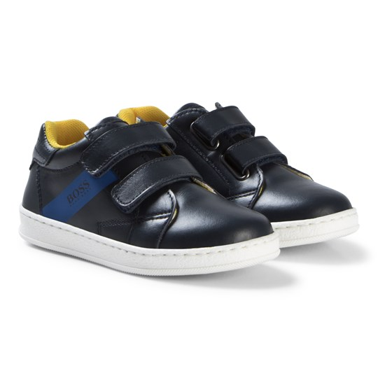 BOSS Navy Velcro Leather Branded Trainers 849