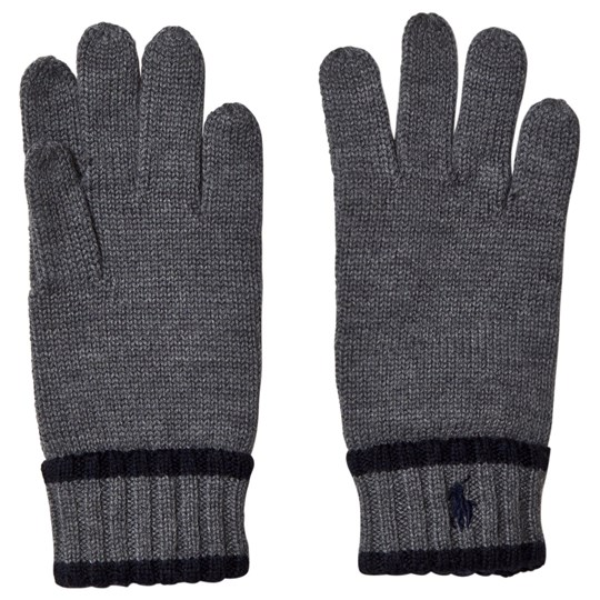 Ralph Lauren Grey and Navy Knit Gloves with PP 002