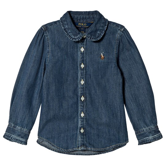 Ralph Lauren Navy Chambray Shirt with Ruffle Collar 001
