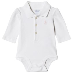 Ralph Lauren White with Pink Jersey Polo Baby Body with PP
