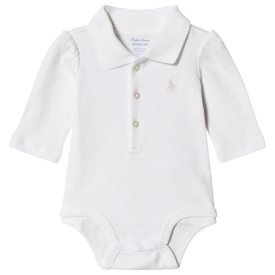 Ralph Lauren White with Pink Jersey Polo Baby Body with PP 002