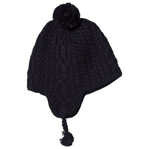 Image of Ralph Lauren Navy Cable Knit Earflap Hat with Pom Pom OS(2T-4T) (3056113499)