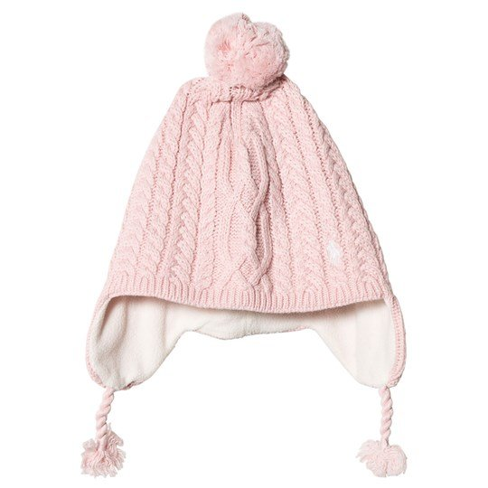 Ralph Lauren Pink Cable Knit Earflap Hat with Pom Pom 002