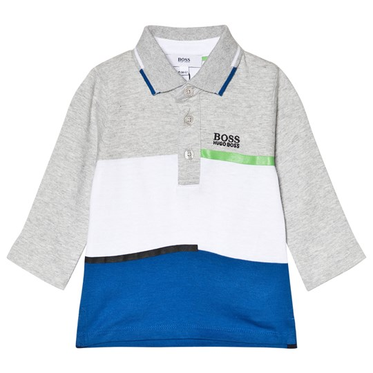 BOSS Grey White and Blue Colorblock Braded Polo A89