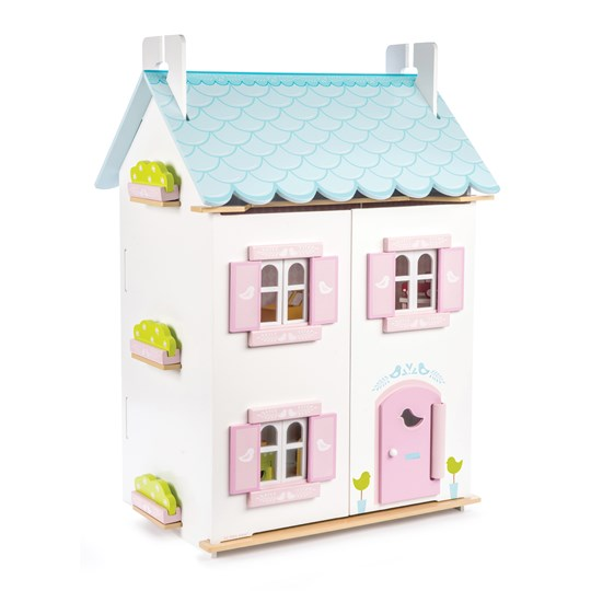Le Toy Van Blue Bird Cottage with Furniture White