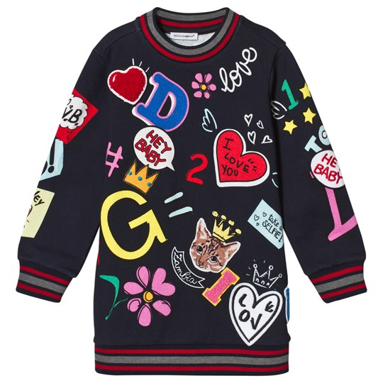 Dolce & Gabbana Navy Branded Print and Applique Sweat Dress HBR27