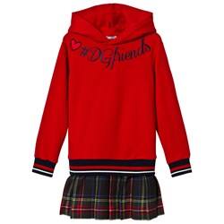 Dolce & Gabbana Red Embroidered Hooded Sweat Dress