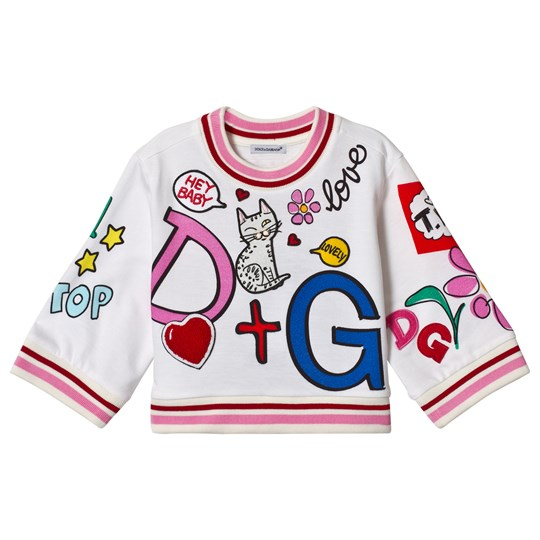 Dolce & Gabbana White Branded Print and Applique Cropped Sweatshirt HWR27