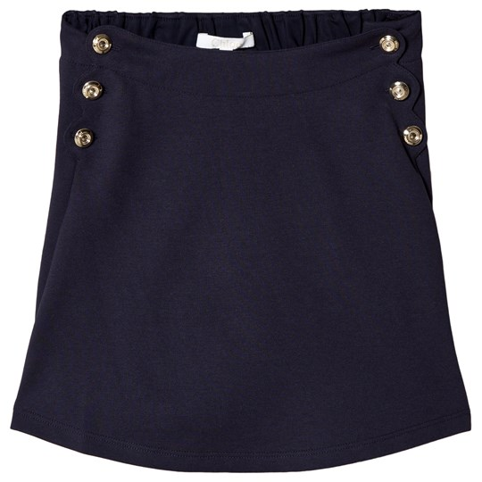 Chloé Navy Scallop Detail Skirt with Engraved Buttons 857