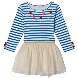 Billieblush Blue and White Stripe Glitter Spot and Pom Pom Dress