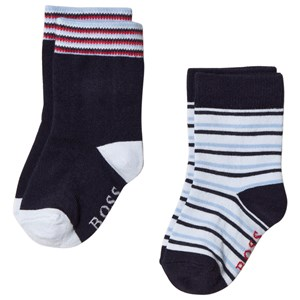 Image of BOSS 2 Pack of Navy and Blue Stripe Socks 15 (1-3 months) (3056075319)