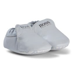 BOSS Pale Blue Branded Leather Crib Shoes