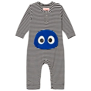 Image of BANGBANG Copenhagen Black Striped One-Piece with Blue Face 6-9 months (3056069087)