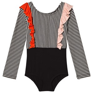 Image of BANGBANG Copenhagen Black and White Striped Body with Multicolor Frills 3-4 years (3056069285)